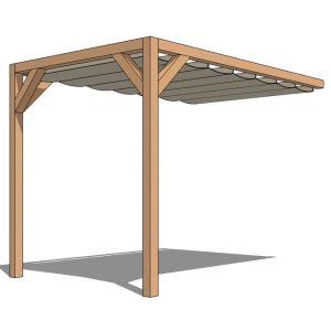 """Kit Pergola adossée """"Murale 1""""  200x300 6m² + Store"""